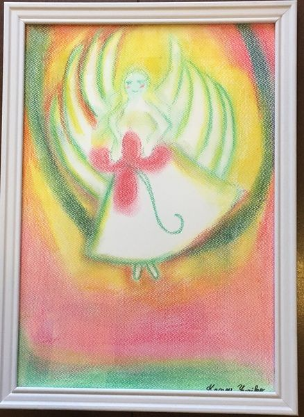 And Angels 012 初期のチャネリングアートで大天使チャミュエルです。  ハートをヒーリングしたり、  ソウルメイトを見つけてくれるのをサポートしたり、探し物を見つけるのをサポートしてくれる  大天使といわれています。    A4サイズ額装済みです(前面はガラス板です)  ご縁のあった方に心を込めて・・・