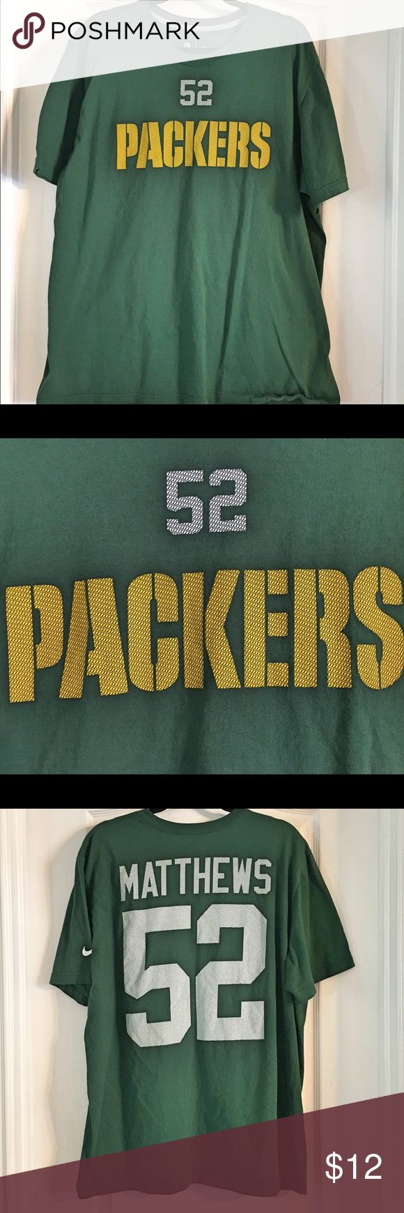 """Nike NFL Team Apparel ~ Green Bay Packers Tee Nike NFL Team Apparel ~ Green Bay Packers Clay Mathews #52 Tee ~ Colors are Green & Yellow ~ UA to UA is approximately 24 1/2"""" ~ Small pinhole from tag as shown in last picture -~ 100% Cotton Nike Shirts Tees - Short Sleeve"""