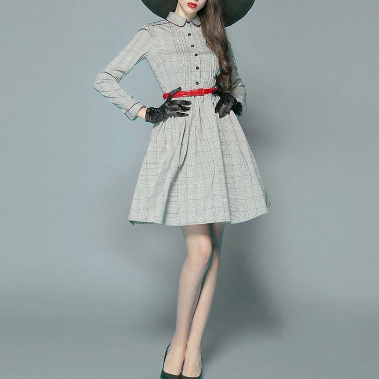 【フィット\u0026フレアのグレンチェック長袖膝丈1950sクラシックシャツワンピースドレス】. ガールズファッションファッション