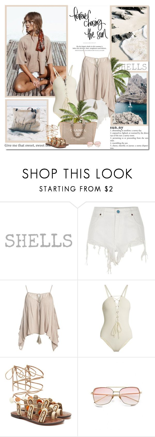 """""""Summer means happy times and good sunshine. It means going to the beach!!"""" by lilly-2711 ❤ liked on Polyvore featuring River Island, H&M, Sans Souci, Zeus+Dione, The Beach People and Sam Edelman"""