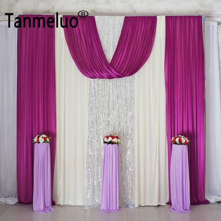 10x10FT Pailletten Hochzeit Hintergrund Vorhänge für Event Party Dekoration Hochzeit Hintergrund für Bühne Eis Seidensatin Vorhang 2018   – Wedding Decorations