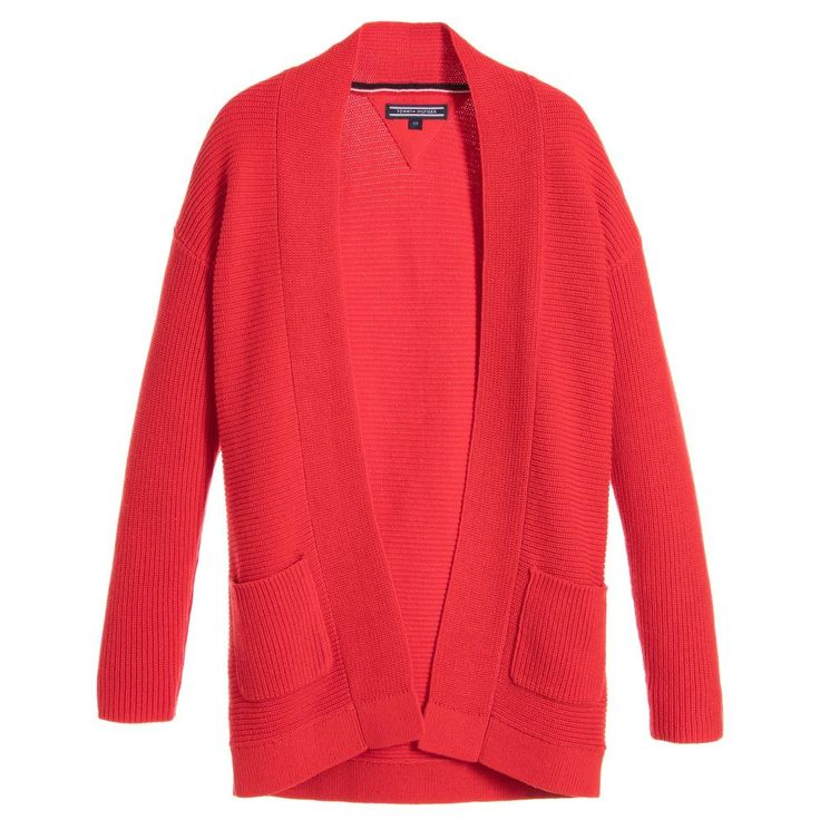 Tommy Hilfiger Girls Red Knitted Cardigan at Childrensalon.com