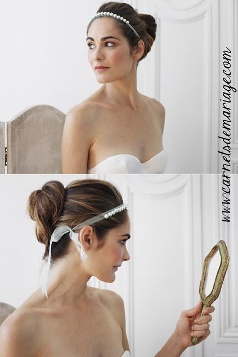 Collection Carnets de Mariage 2013 - 14  Head band fin sertie de perles de cristal.
