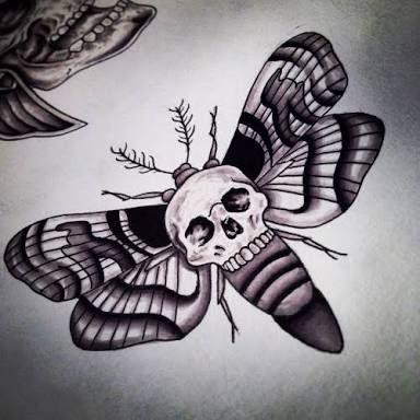 Skull moth tattoo
