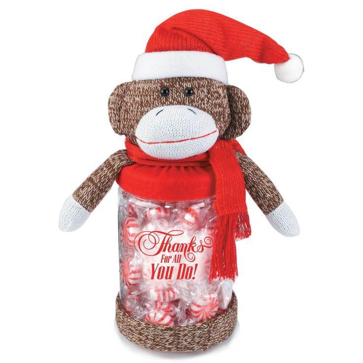 Thanks For All You Do! Santa Sock Monkey Plush Candy Jar