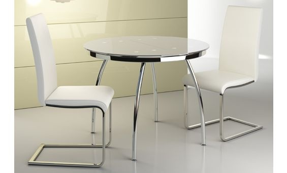 Mesa de cristal redonda extensible en color blanco 100 x 75 cm