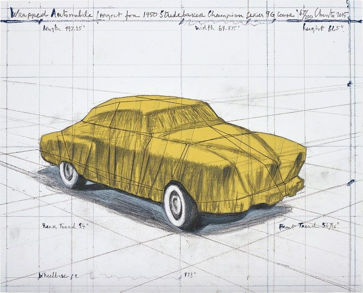 CHRISTO AND JEANNE-CLAUDE Wrapped Automobile (Project for 1950 Studebaker Champion Series 9G Coupe), 2015 Lithograph in colours with hand-colouring in pencil and collage of broadcloth, cardstock and thread, on wove paper mounted to board (as issued), the full sheet 16 9/10 × 20 9/10 in 43 × 53 cm Edition 67/200 + 50AP Estimated value: £2,500–£3,500