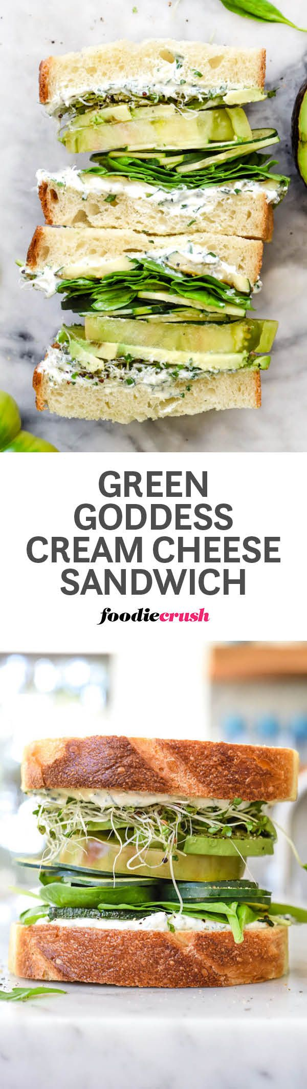 Garlic and herb-infused cream cheese flavor a bounty of green veggies to make a healthy sandwich with loads of flavor. | foodiecrush.com #sandwich #veggie #greengoddess #creamcheese