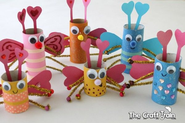 Toilet Roll Love Bugs for Valentine's Day