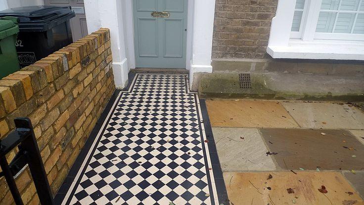 Multi colour mosaic brick garden wall London Clapham Wandsworth Balham