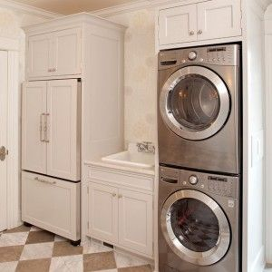 Best Laundry Room Design with Stackable Washer And Dryer Dimensions Ideas : Breathtaking Stackable Washer And Dryer Dimensions Floral Wallpaper Custome Size Laundry Machine Brown And White Tile Flooring