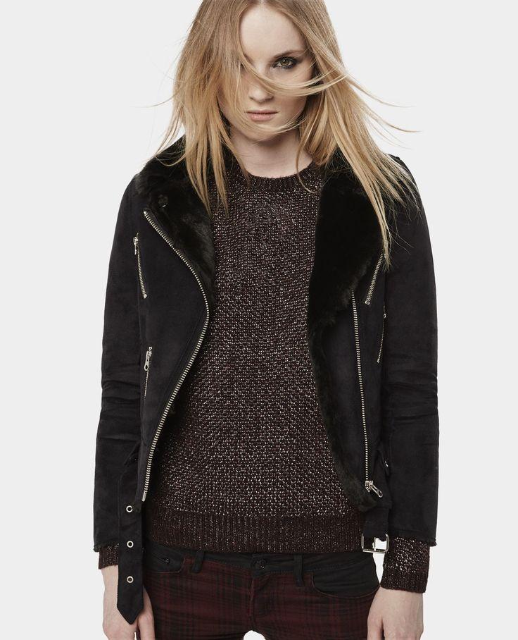 blouson biker fa on peau lain e best sellers femme the kooples coats jackets. Black Bedroom Furniture Sets. Home Design Ideas