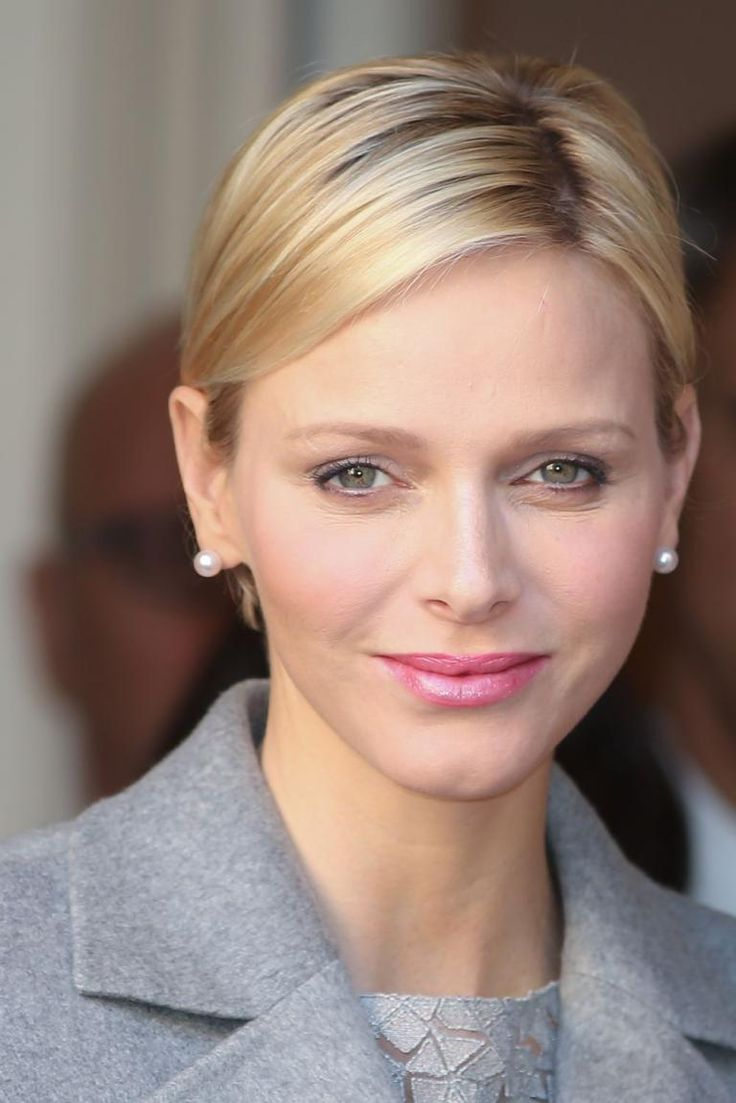 Princess Charlene of Monaco opted for a very feminine beauty look with a sleek hairstyle and pink lipstick for a royal engagement in Monaco ...