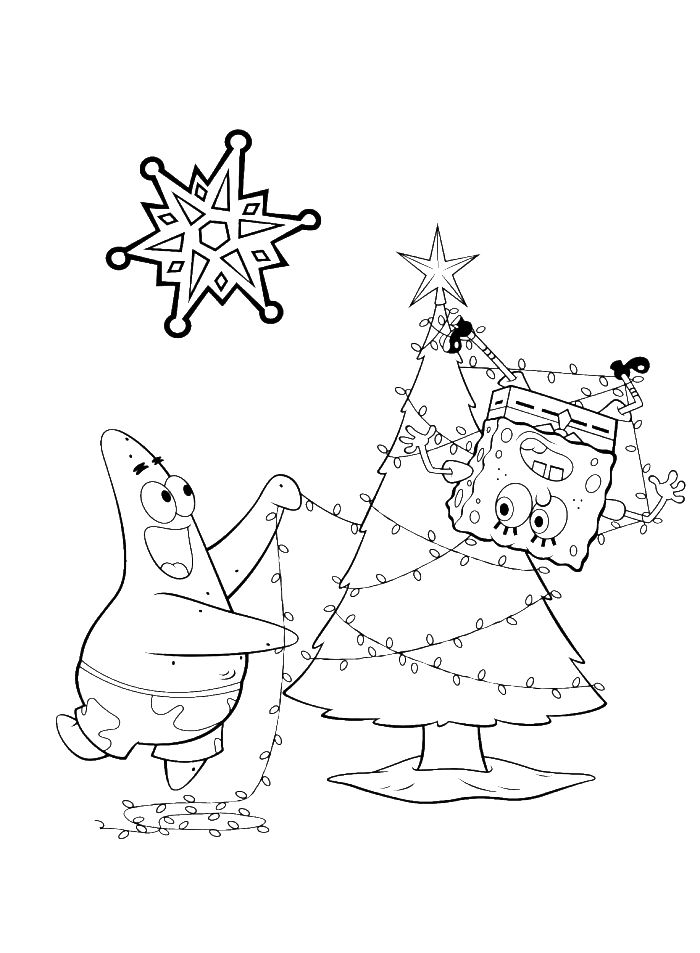 Pages Sponge Bob Free Coloring Winter Christmas Xmas Colouring