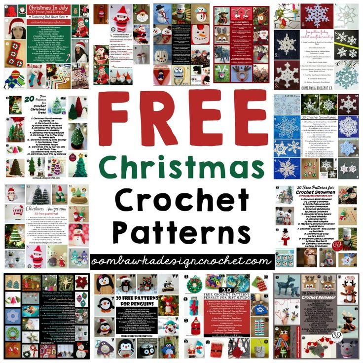 Stop searching and start crocheting! Free Christmas Crochet Patterns! Find Santa Claus, Reindeer, Snowmen, Stockings, Penguins, Snowflakes, Christmas Trees, Christmas Ornaments, Gift Bags, Bumble, Rudolph, Frosty, Poinsettias, Stars, Wreaths and Angels. via @OombawkaDesign