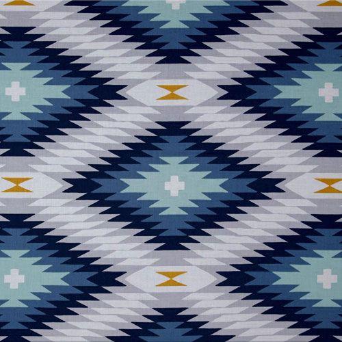 Navy Aztec Fabric | Joel Dewberry Wander Azteca in Midnight