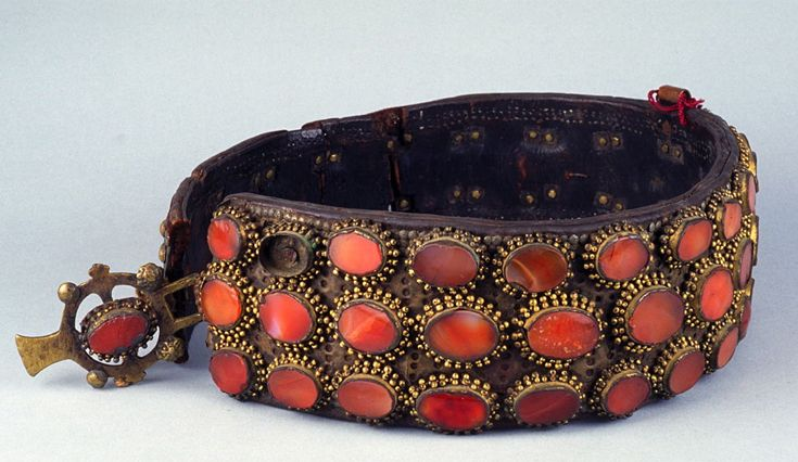 Serbia | Belt; leather, brass and semi precious stones | Early 20th century…
