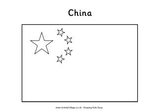 Chinese flag colouring page