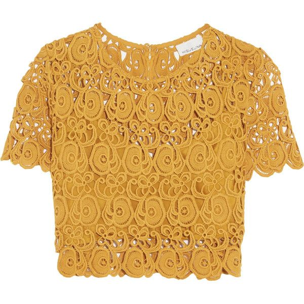 Miguelina Lula cropped cotton-guipure lace top (£106) ❤ liked on Polyvore featuring tops, blusas, crop tops, shirts, mustard, brown top, lace shirt, keyhole top, loose tops and crop top