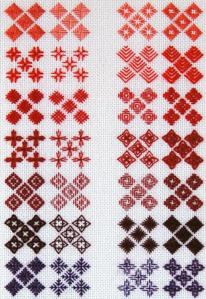 An embroidery technique using the X shaped cross-stitch laid out in a grid to form a beautiful designs