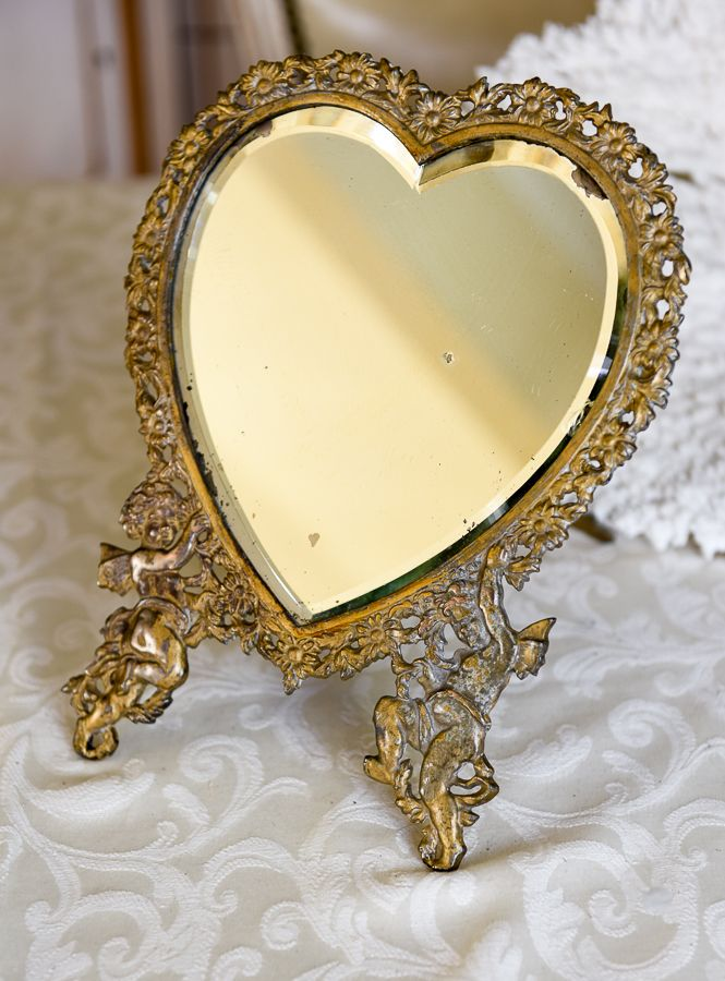 Exceptional Large Victorian Heart Shaped Easel Mirror