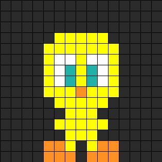 Mini Tweety Perler Bead Pattern | Bead Sprites | Characters Fuse Bead Patterns