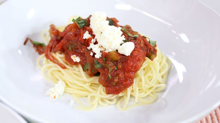 Pasta with roasted vegetable tomato sauce and homemade ricotta