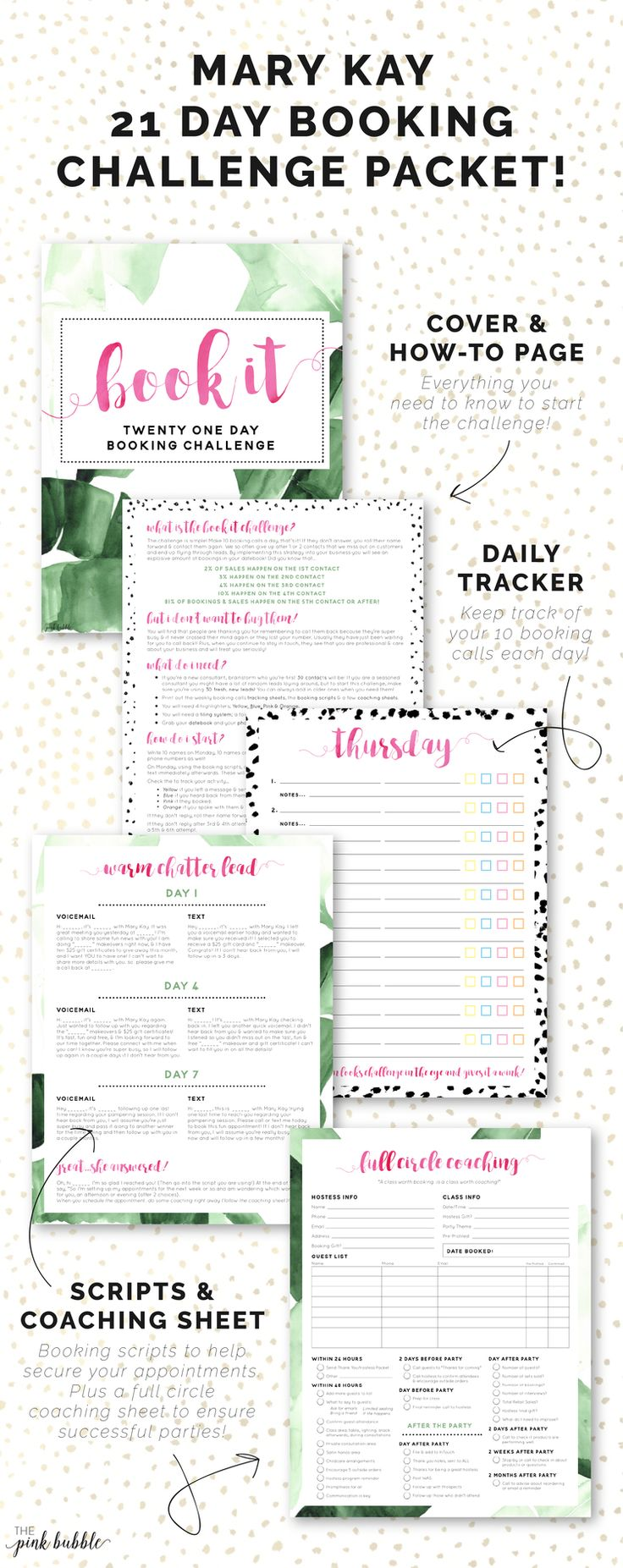 Mary Kay 21 Day Booking Challenge Packet! Find it only at www.thepinkbubble.co!