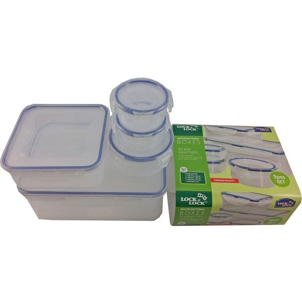 LOCK N LOCK 5 piece multi-set (£13) ❤ liked on Polyvore featuring home, kitchen & dining, food storage containers, lunch box, lock lock lunch box, lock lock food storage containers and storage boxes