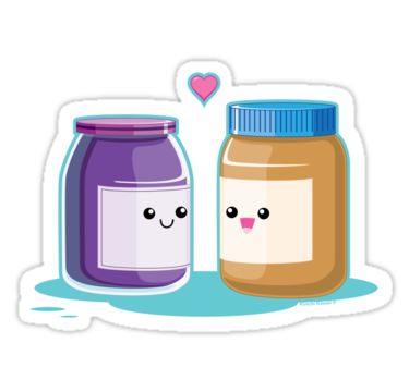 Peanut Butter and Jelly die-cut sticker