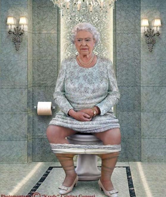 Die Queen thront auf ihrem stillen Örtchen