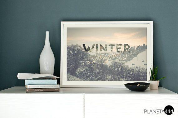 Winter magic - poster artistico stampabile - 4 stagioni -  Arredo - Arte parete - fotografia - lettering