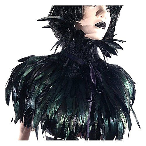 L/'vow Gothic Victorian Natural Feather Shrug Cape Shawl Choker Neck Wrap...