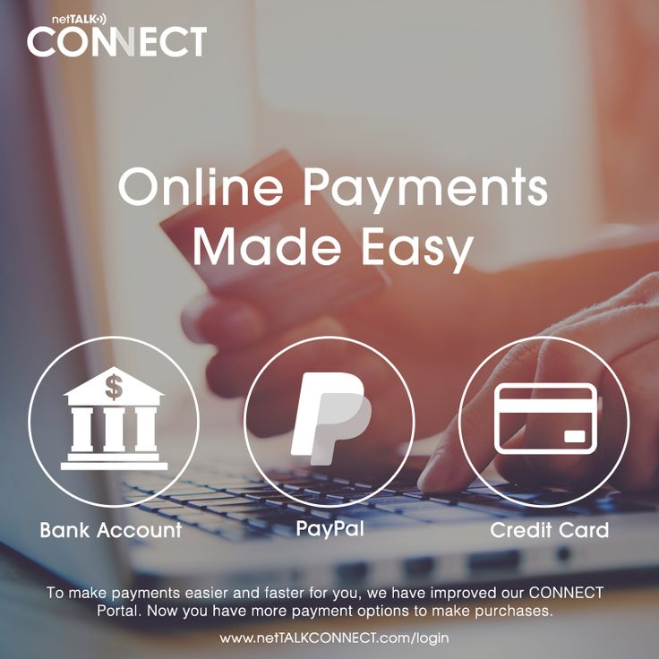 Online payments made easy! Now we offer other secure and easy-to-use payment options. Besides credit cards, now we accept PayPal and U.S. Bank Accounts. Login to your CONNECT Account Portal and choose the right one for you! https://www.nettalkconnect.com/login