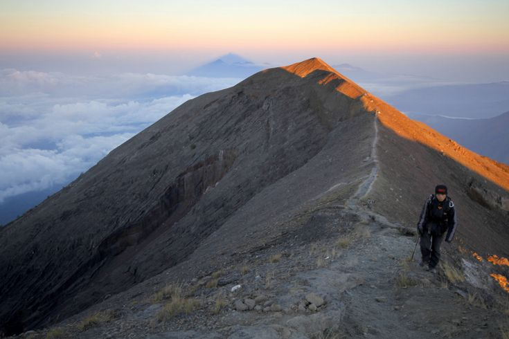 The final ridge on the way to the summit of Mount Agung (Gunung Agung), the highest point on the island of Bali in Indonesia.