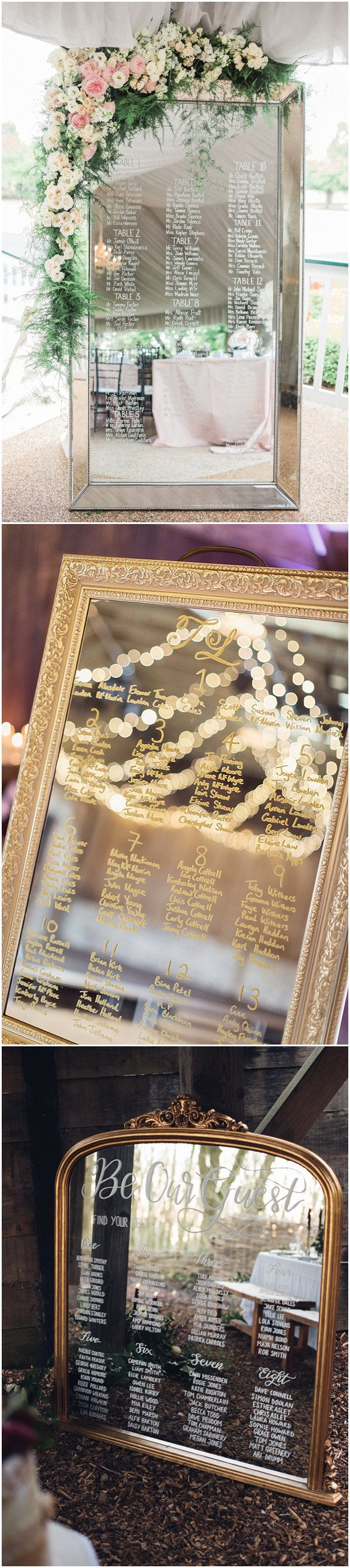 super elegant and vintage mirror wedding seating chart ideas