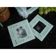 Find 2 Piece Glass Photo Coaster Set Multi Love At Wholesale Favors Along With Other Wedding And Personalized Gifts