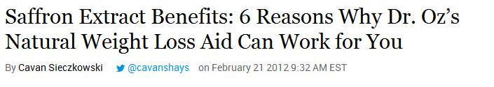 Saffron Extract Benefits: 6 Reasons Why Dr. Oz's Natural Weight Loss Aid Can Work for You