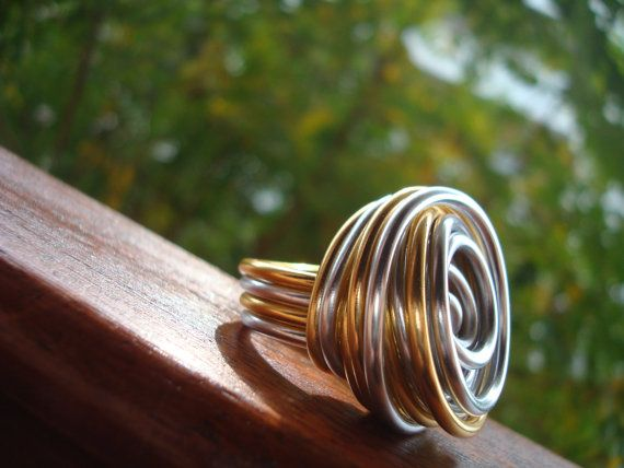 Gold and Silver Galore! -->Silver & Gold Wire #Ring, Wire Wrapped Jewelry, Non Tarnish wire by @ArtGaloreShop http://etsy.me/1utgpwF via Etsy