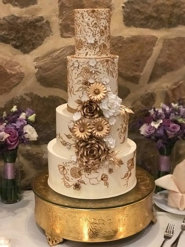 Stunning Gold And Ivory Wedding Cake By La Terra Bakery With