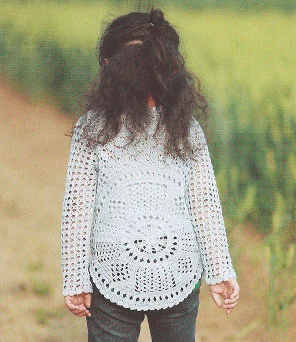 Ажурный пуловер детский крючком 2