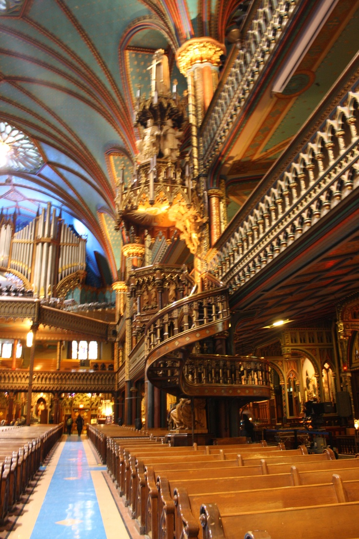 Inside Notre Dame Basilica in Montreal, Quebec. Absolutely breathtaking!  Celine Dion got married here.