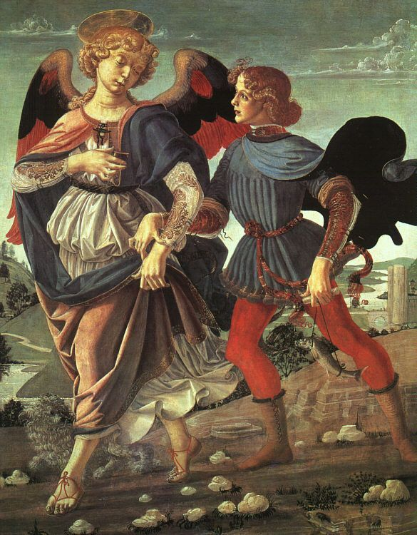 LEONARDO DA VINCI (1452 - 1519) | Tobias and the Angel. Disputed. A painting by Verrocchio while Leonardo was in his workshop. Martin Kemp suggests that Leonardo may have painted some part of this work, most likely the fish. David Alan Brown, of the National Gallery in Washington, attributes the painting of the dog to him as well.  National Gallery, London.