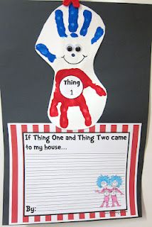 Thing 1 cutey: Hands Prints, Idea, Writing Prompts, Classroom Inspiration, Seusstast Classroom, Seuss Week, Dr. Seuss, Writing Activities, Dr. Suess