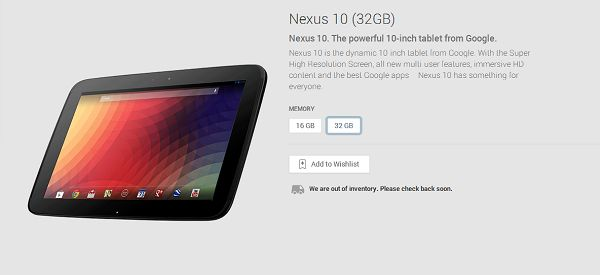 The 32GB Nexus 10 is out of stock on the U.S. Play Store; cue Nexus 10 refresh Rumours - http://www.aivanet.com/2014/01/the-32gb-nexus-10-is-out-of-stock-on-the-u-s-play-store-cue-nexus-10-refresh-rumours/