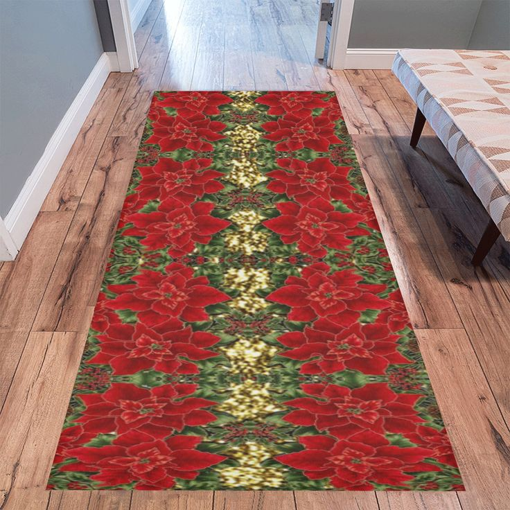 """Red & Gold Poinsettia Pattern Area Rug 10'x3'3'' - 7x3'3"""" also available."""