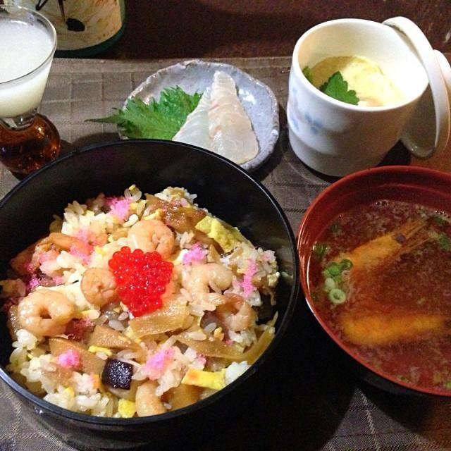 おっそい母の日。 - 82件のもぐもぐ - ちらし寿司、茶碗蒸し、鯛刺、お吸い物 by tabajun
