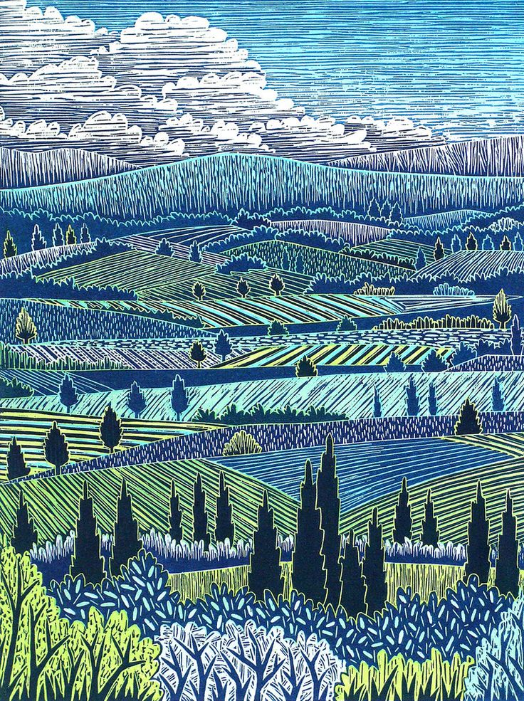 Italian Landscape I woodcut print by Daryl Storrs