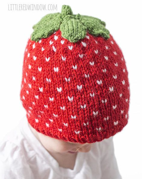 Knitting Pattern for Strawberry Baby Hat - Sizes: 0-3 months, 6 months, 12 months and 2T+.