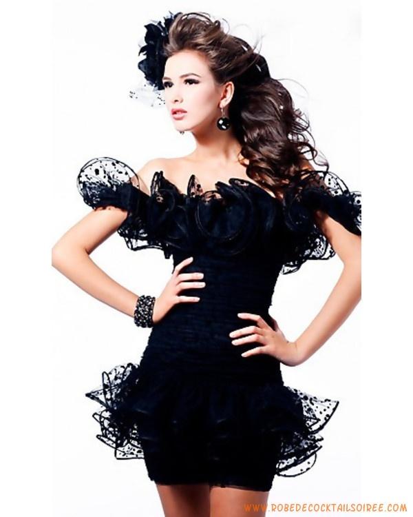 Robe de cocktail 2011 noire courte orné de fleur
